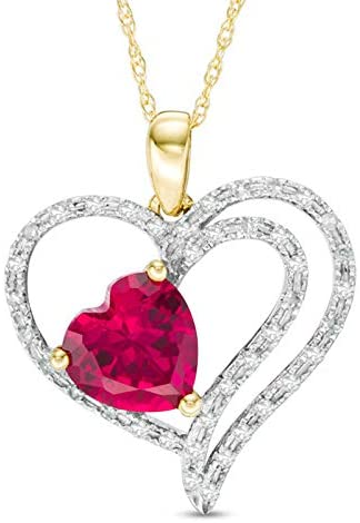 Royal Jewelz 1/6ct Diamond Heart Frame Pendant Necklace with 7 mm Heart Lab-Created Gemstone Birthstone in 10k White or Yellow or Pink Gold. Comes with 10k Rope Chain.
