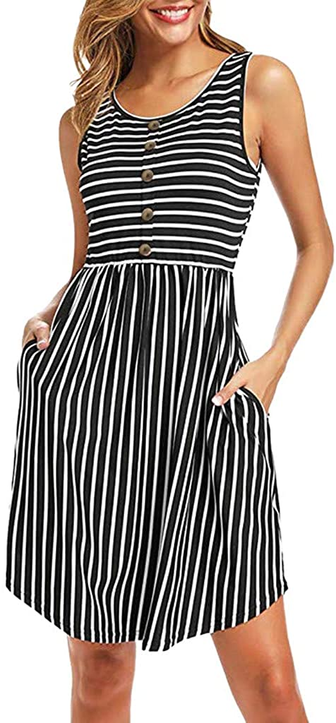 Keepmove Casual Summer Dresses, Women's Sleeveless Front Button Round Neck Striped with Pockets Tank Mini Dress