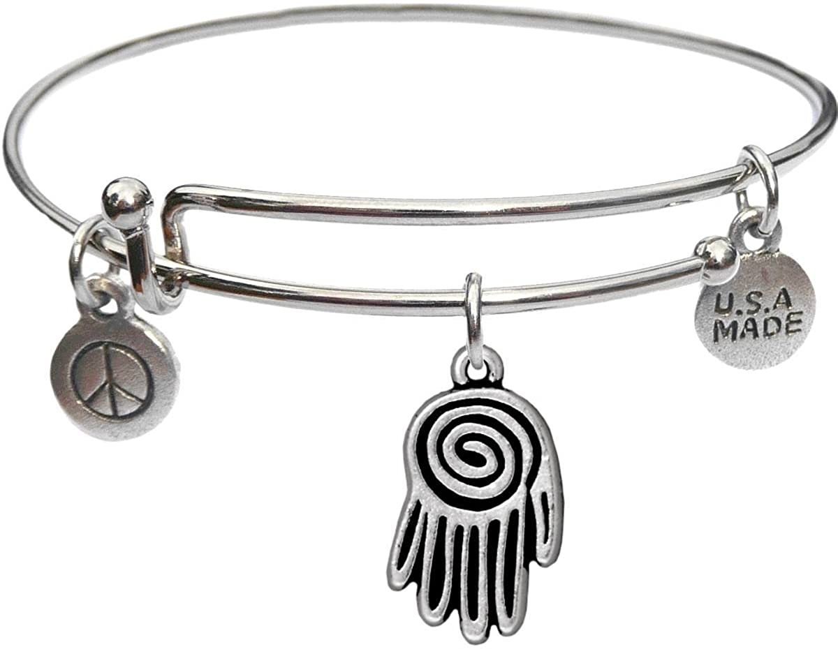 Bangle Bracelet and Spiral Hand Charm
