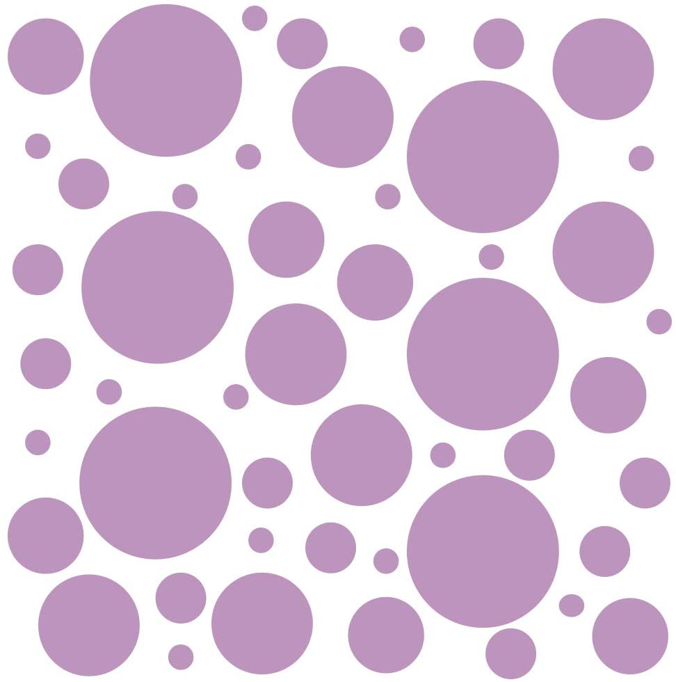 Set of 100 (Lilac) Vinyl Wall Decals - Assorted Polka Dots Stickers - Removable Adhesive Safe on Smooth or Textured Walls - Round Circles - for Nursery, Kids Room, Bathroom Decor