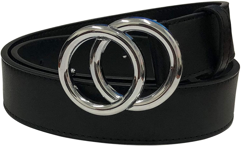 RIOPKL Simplicity Leather Belts For Women Polished Buckle Black 34
