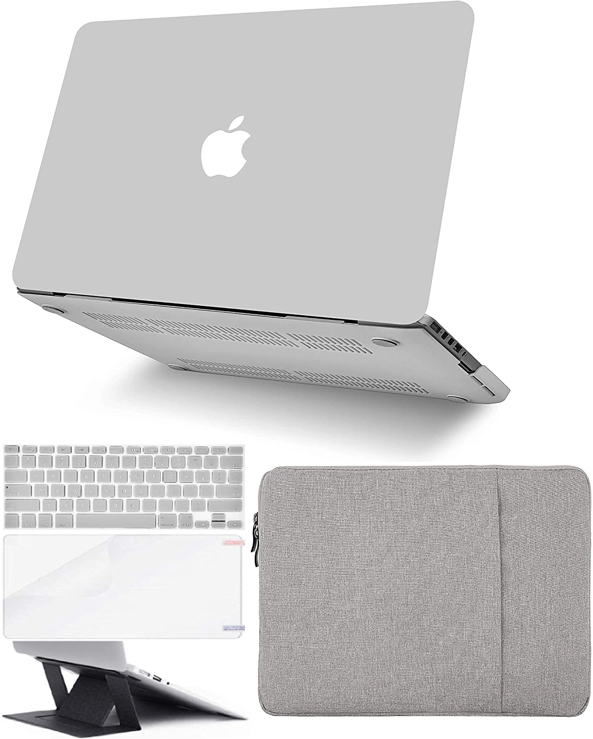 KECC Laptop Case for MacBook Air 13 Retina (2020, Touch ID) w/Keyboard Cover + Sleeve + Screen Protector + Laptop Stand (5 in 1 Bundle) Plastic Hard Shell Case A2179 (Stone Grey)