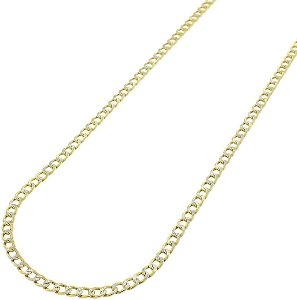 Verona Jewelers 14K Solid Yellow Gold 3.2MM Diamond Cut Cuban Link Chain Necklace- Pave Necklace,14K Solid Gold Cuban Link,14 Karat Gold Chain(16-24)