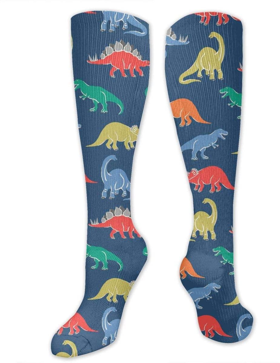 Compression Socks for Women Men Nurses Runners - Best Medical Stocking for Travel, Maternity, Running, Athletic, Varicose Veins - Cartoon Dinosaur