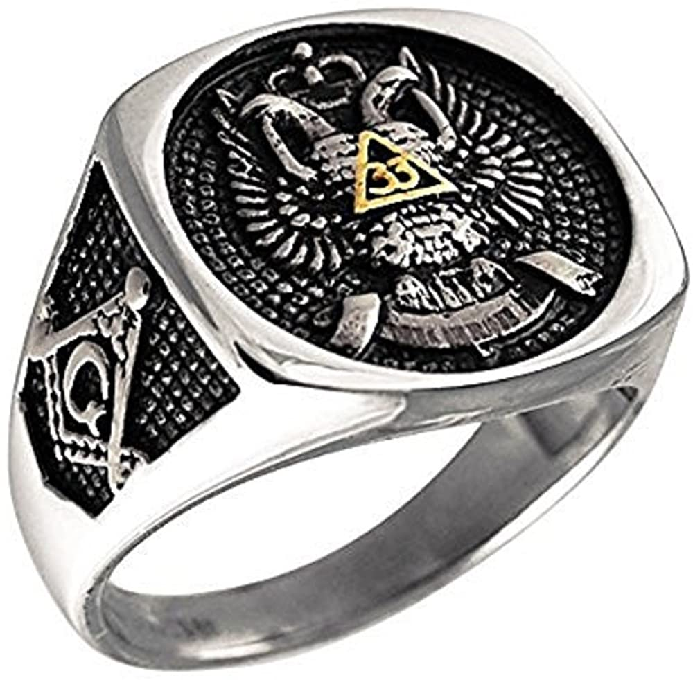 Grantodo Stainless Steel Retro Gothic Punk Ring - Skull in a Caged Jail Cell Men's Jewelry - Fashionable Stylish Romantic Finger Ring - Anniversary Wedding Birthday Gift for Men (12 Size)