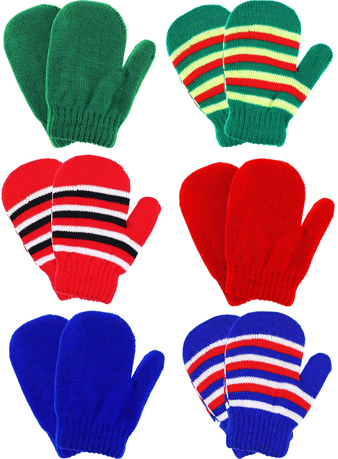 Boao 6 Pairs Stretch Mittens Winter Warm Knitted Gloves for Halloween Party Kids Toddler Supplies (Color 8)