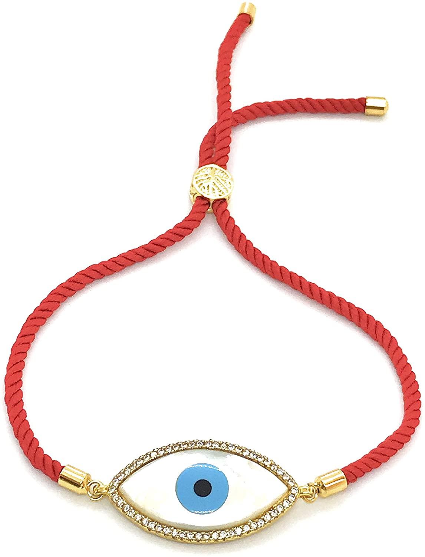 LESLIE BOULES Evil Eye Adjustable Size Bracelet Red Satin Cotton Cord