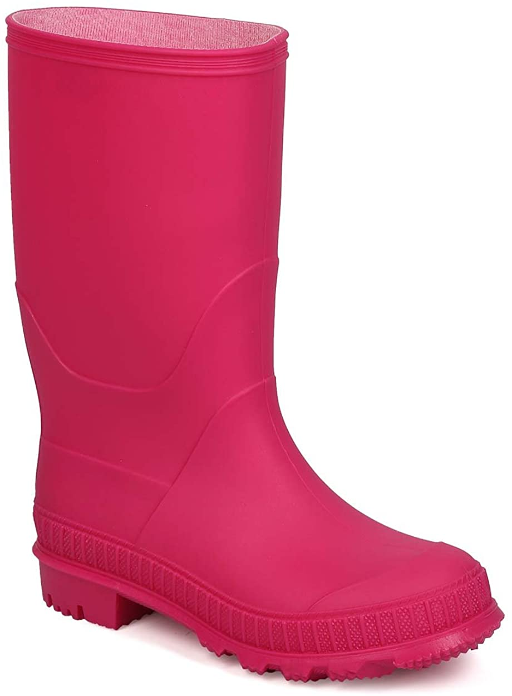 Jelly Round Toe Pull On Tab Rain Boot (Little Kid/Big Kid) EF64 - Fuchsia