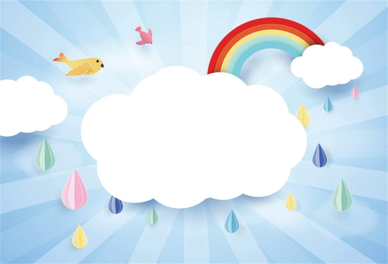 Leowefowa 10x8ft Cartoon White Clouds Rainbow Colorful Rain Drops Radial Light Beams Backdrop Vinyl Baby 1st Birthday Party Photography Background Child Kids Baby Birthday Banner Baby Shower