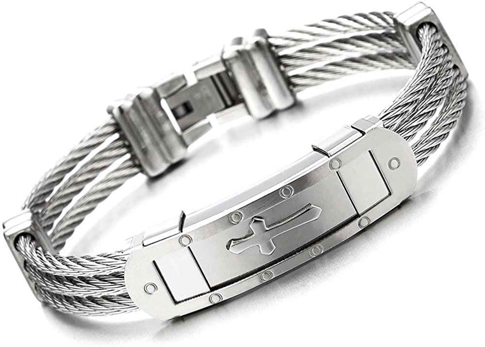 COOLSTEELANDBEYOND Mens Stainless Steel ID Identification Cross Bracelet with Three Twisted Cables Masculine