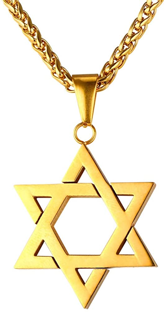 U7 Men Women Star of David Necklace, Stainless Steel 18K Real Gold Plated Jewish Israel Jewelry Pendant with Chain, 22-26 Inch, Customizable