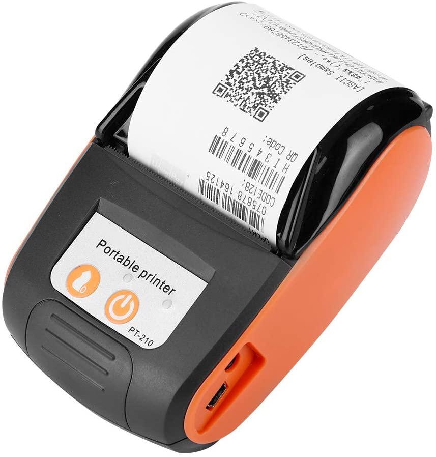 Mini Printer, Wireless Portable Receipt Printer Bluetooth Thermal Bill Printer 58 mm Directly-Heated Thermal Printer Support The Smartphone Control(Orange US)