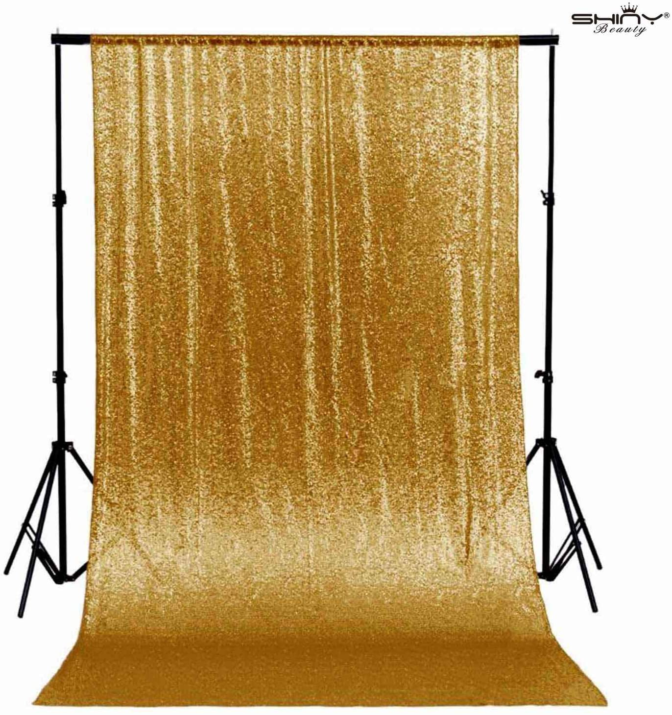 Gold Sequin Curtain Backdrop 2 Panels 4FTx8FT Photo Curtain Backdrop Curtain Panels 96 Inches Long -190522E