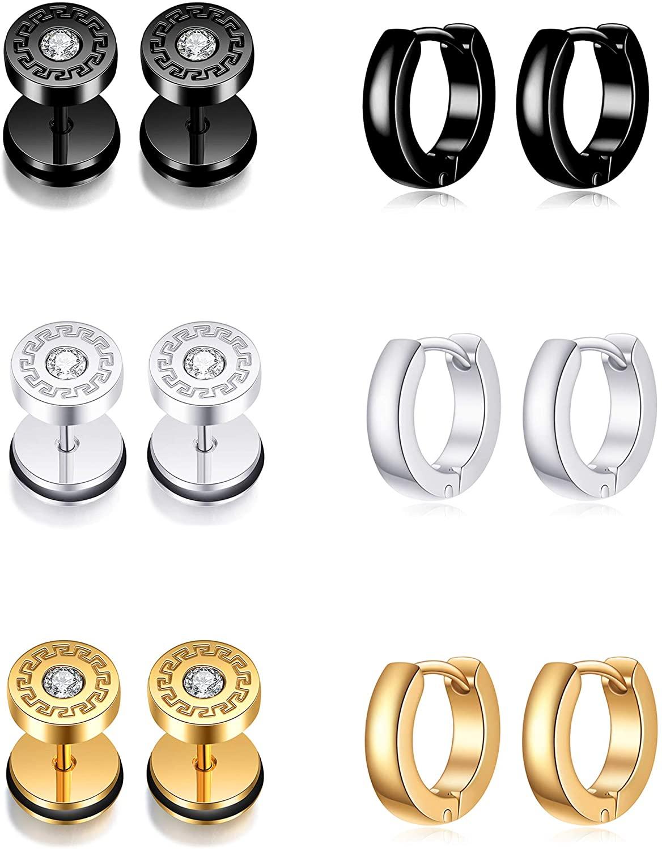 Ofeiyaa 6 Pairs Stainless Steel Hoop Earrings Huggie Cross Dangle Hinged Earrings For Men Women Barbell CZ Stud Earrings Ear Piercing Set Sliver Gold Black Tone