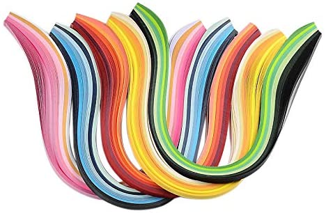 PH PandaHall 6 Colors 1200 Strips Paper Quilling Strips, Multicolor Quilling Strip Set, 5mm Width 39cm Length