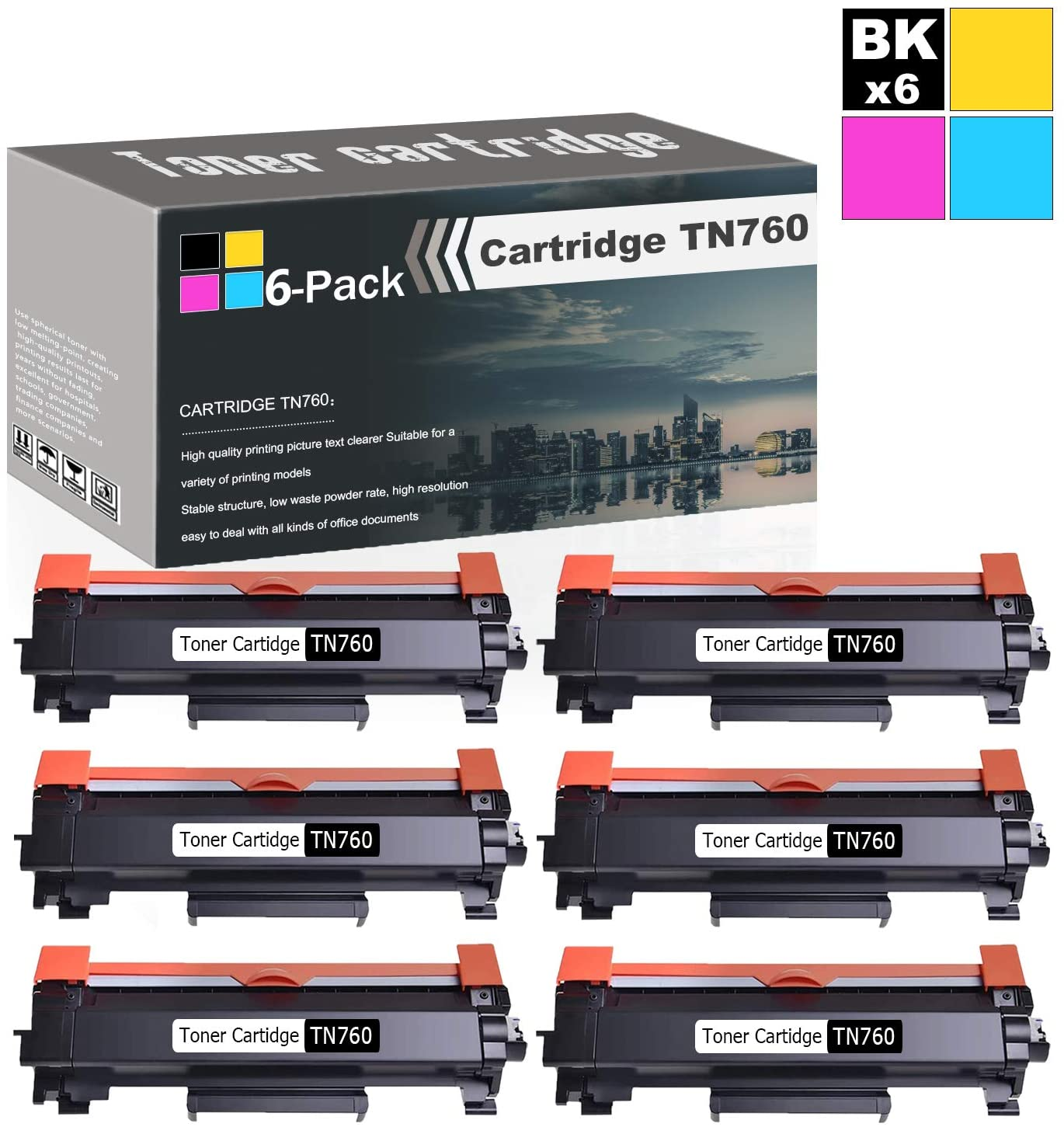 Compatible High Yield (Black,6-Pack) Laser Toner Replacement Cartridges for TN760 to use with Brother DCP-L2550DW MFC-L2710DW MFC-L2750DW MFC-L2750DWXL HL-L2350DW HL-L2370DW/DWXL Printers Toner.