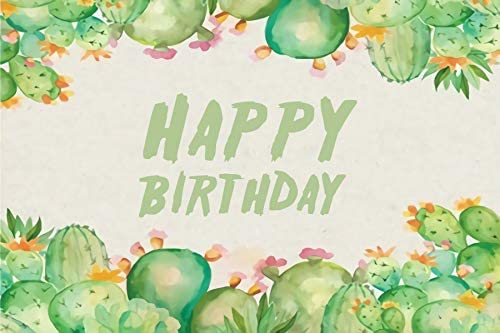 Baocicco 10x6.5ft Happy Birthday Backdrop Cartoon Cactus Watercolor Style Children Drawing Cactus Blossoms Photography Background West Birthday Party Cactus Party Girls Adults Portrait