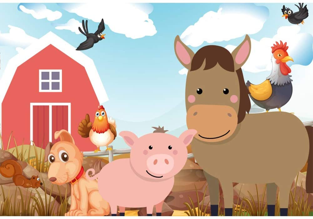 YongFoto 10x8ft Cartoon Farm Animals Photography Backdrop Rural Countryside Kids Birthday Party Decoration Baby Shower Photo Background Dog Chicken Pig Horse Photo Studio Props Portrait Wallpaper