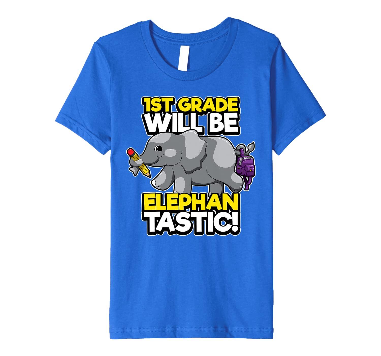 Kids First Grade Elephant First Day of School Fantastic Pun Premium T-Shirt