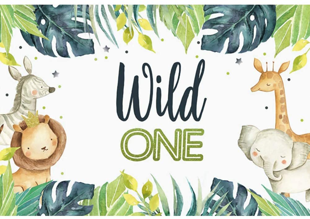 DORCEV 5x3ft Wild One Theme Backdrop Jungle Safari Animal Theme 1st Birthday Party Photography Background Tropical Forest Leaf Elephant Lion Giraffe Party Cake Table Banner Child Photo Studio Props