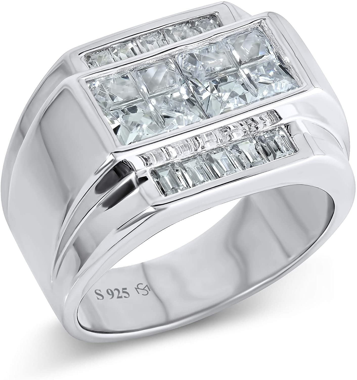 Mens Sterling Silver .925 Ring with White Invisible and Channel Set Cubic Zirconia (CZ) Stones, Platinum Plated. Flashy Eye Catching Ring. Elegant Sterling Silver Jewelry Encrusted with CZs For Men.