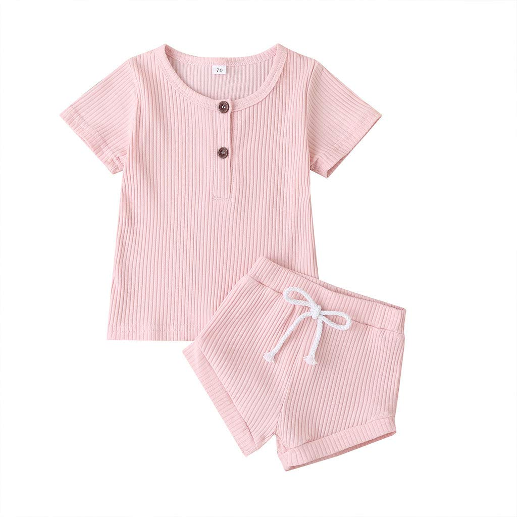 Baby Top & Pants Set, Toddler Baby Boys Girls Short Sleeve Solid Button Stripe Tops+Shorts Outfits Set, Clothes for Kids Boys Girls Pink 9-12 M