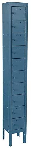 Blue Cell Phone Locker, (1) Wide, (10) Tier, Openings: 10, Lock: Padlock Hasp