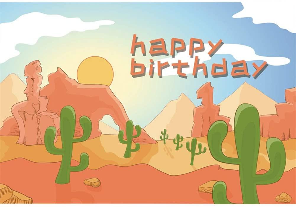 Leyiyi Happy Birthday Backdrop 5x3ft Photography Background Birthday Decor Banner Desert Cactus Cake Smash Boys Girls Photo Booth Video Props