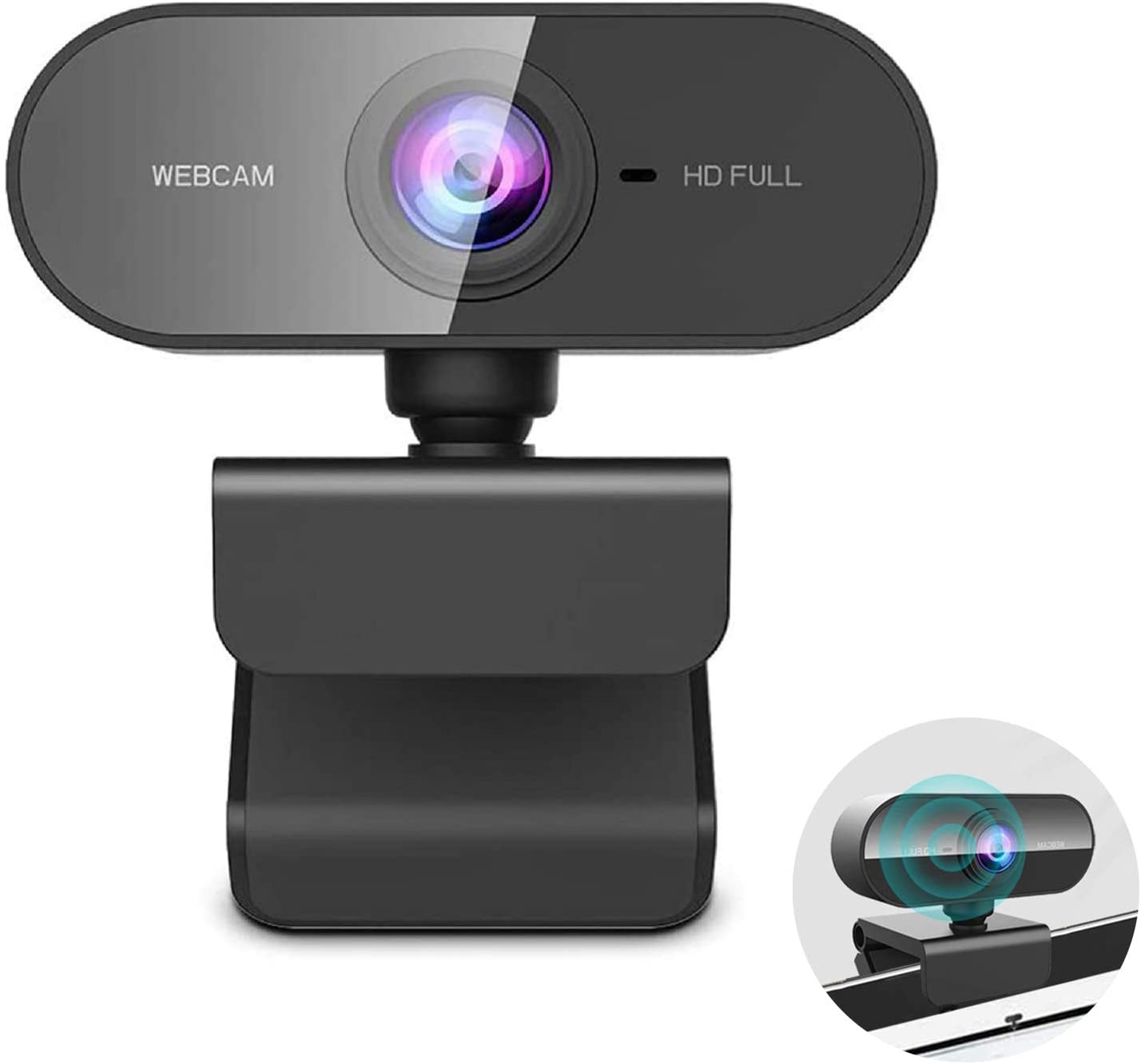 Webcam with Microphone, 1080P HD Wide Angle Web Cam, USB Web Streaming Computer Camera for Computers PC Laptop Desktop, Conference Study Video Calling, Skype