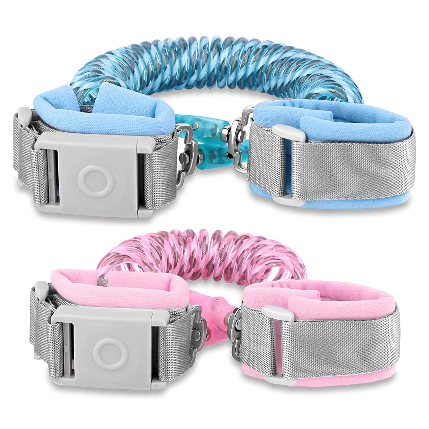 Anti Lost Waist Belt Magnetic Induction Lock Outdoor Safety Wristband Night Reflective Toddler Safety Harnesses Leashes(Bule and Pink)