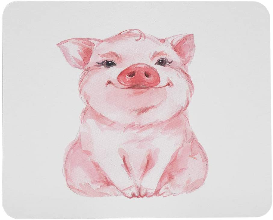 Wozukia Funny Pig Large Mouse Pad Cute Piglet Sit on The Floor Watercolor Drawing Pink Customized Rectangle Non-Slip Rubber Mouse Pads Gaming and Office Mouse Mat for Laptop 9.5x7.9 Inch