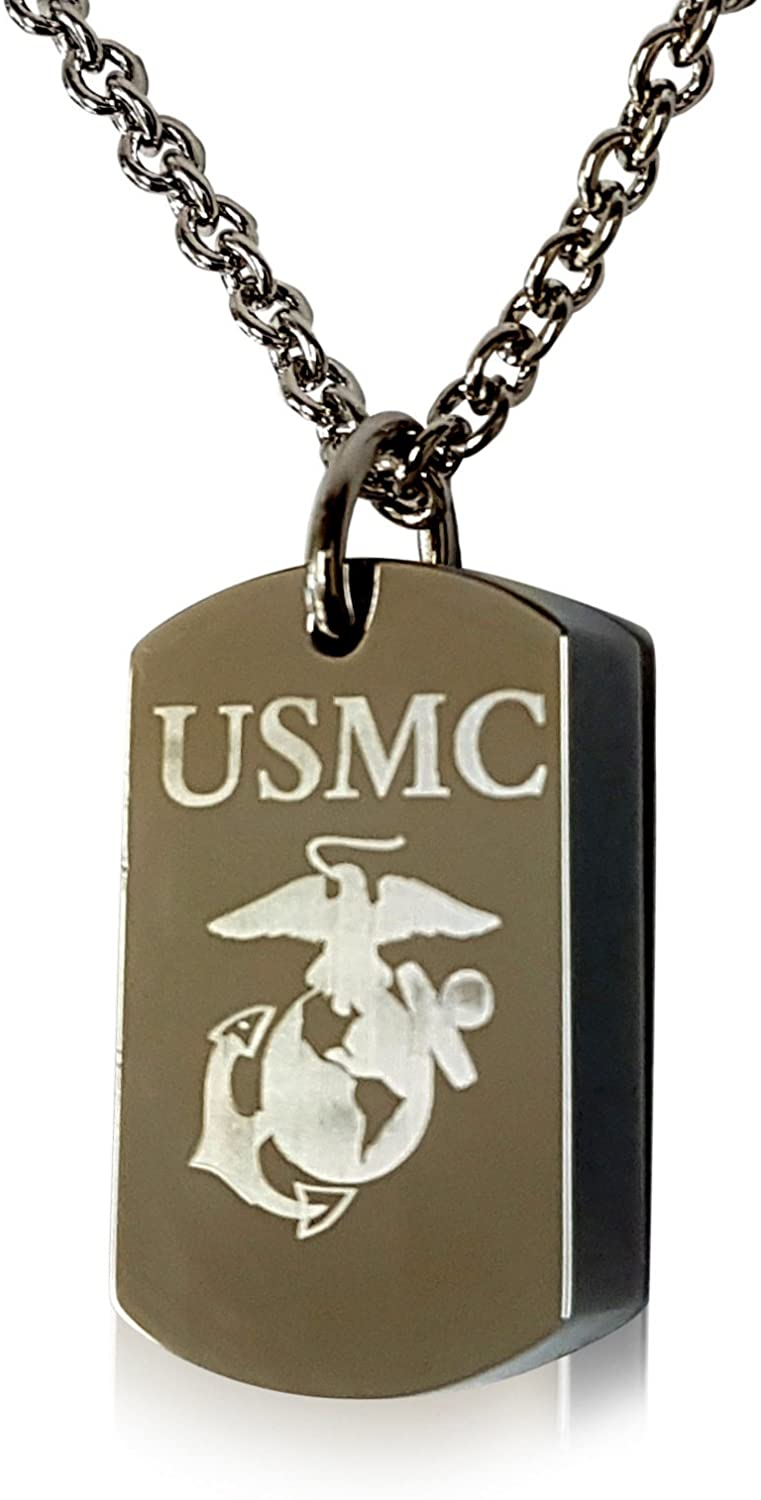 Gwendelicious Jewelry US Marine Corps - Engraved Dog Tag Urn Pendant Necklace - Solid Stainless Steel - Hung on a Matching Chain