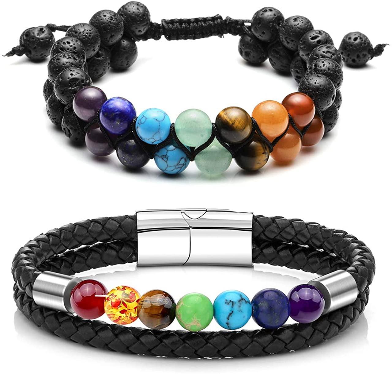Jovivi 2 Pcs Bead Bracelet for Men Women Lava Rock Essential Oil Diffuser Bracelet Black Leather Natural Stone Beaded Bracelet Set Stainless Steel Cuff Bangle Adjustable