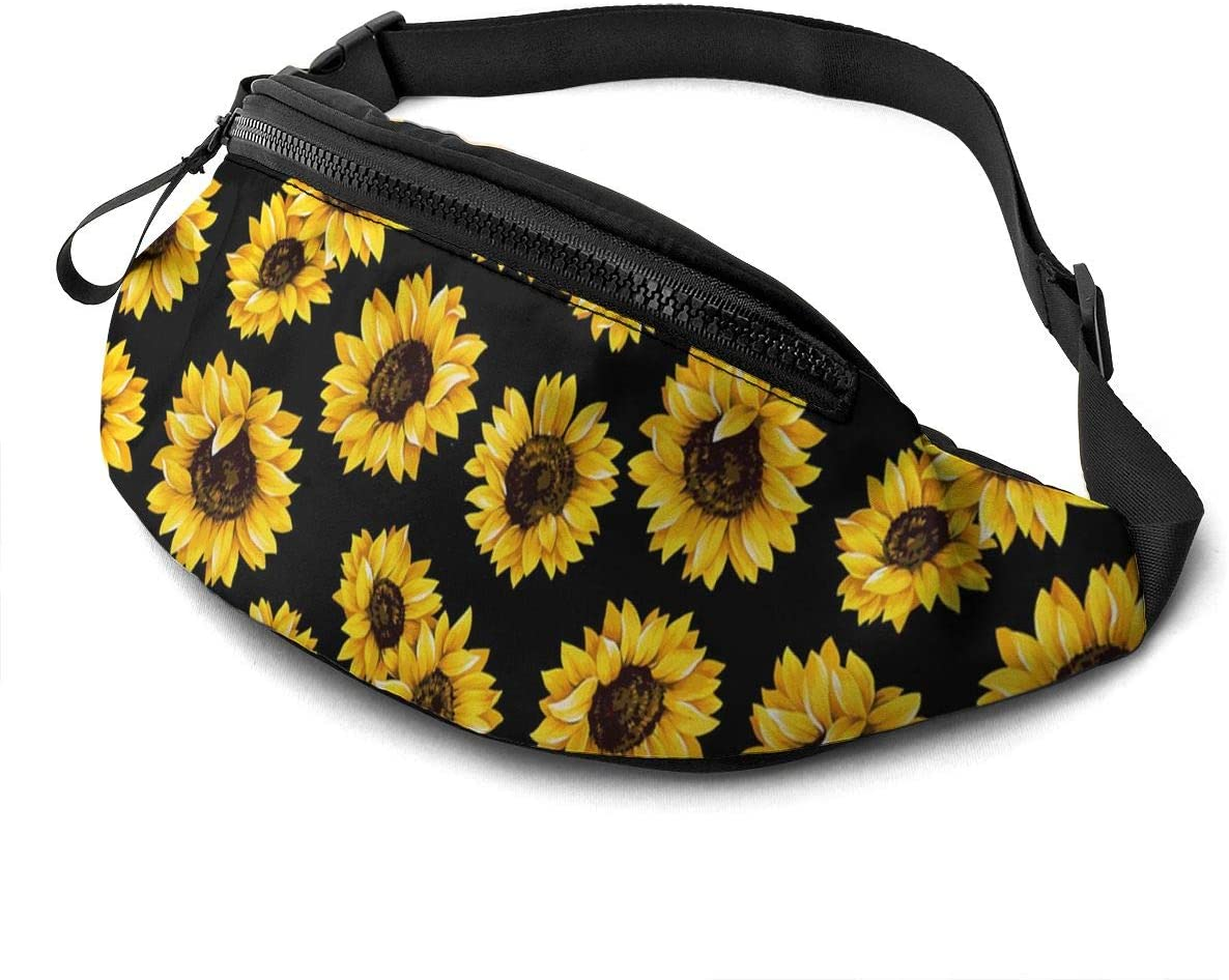 Hipster Golden Sunflowers Fanny Pack for Men Women, Soft Lightweight Customized Waist Bag with Headphone Jack and Zipper Adjustable Strap for Outdoors