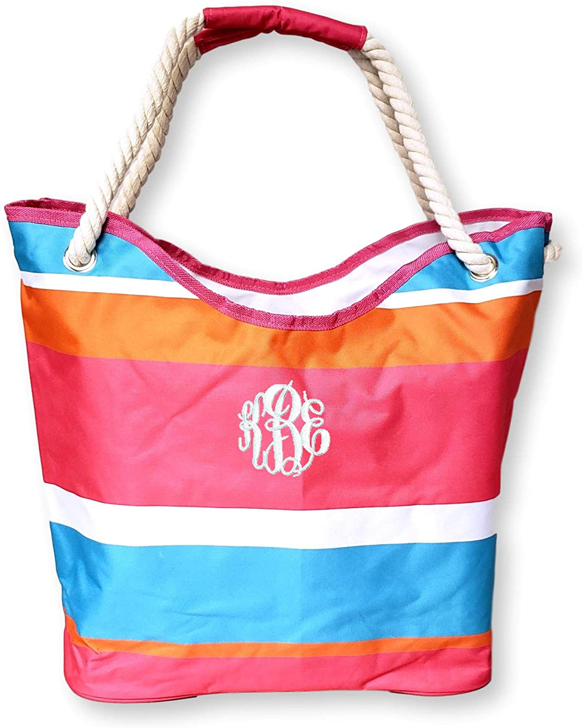 Large Canvas Striped Beach Bag Tote with Waterproof Interior for Beach, Pool, or Shopping