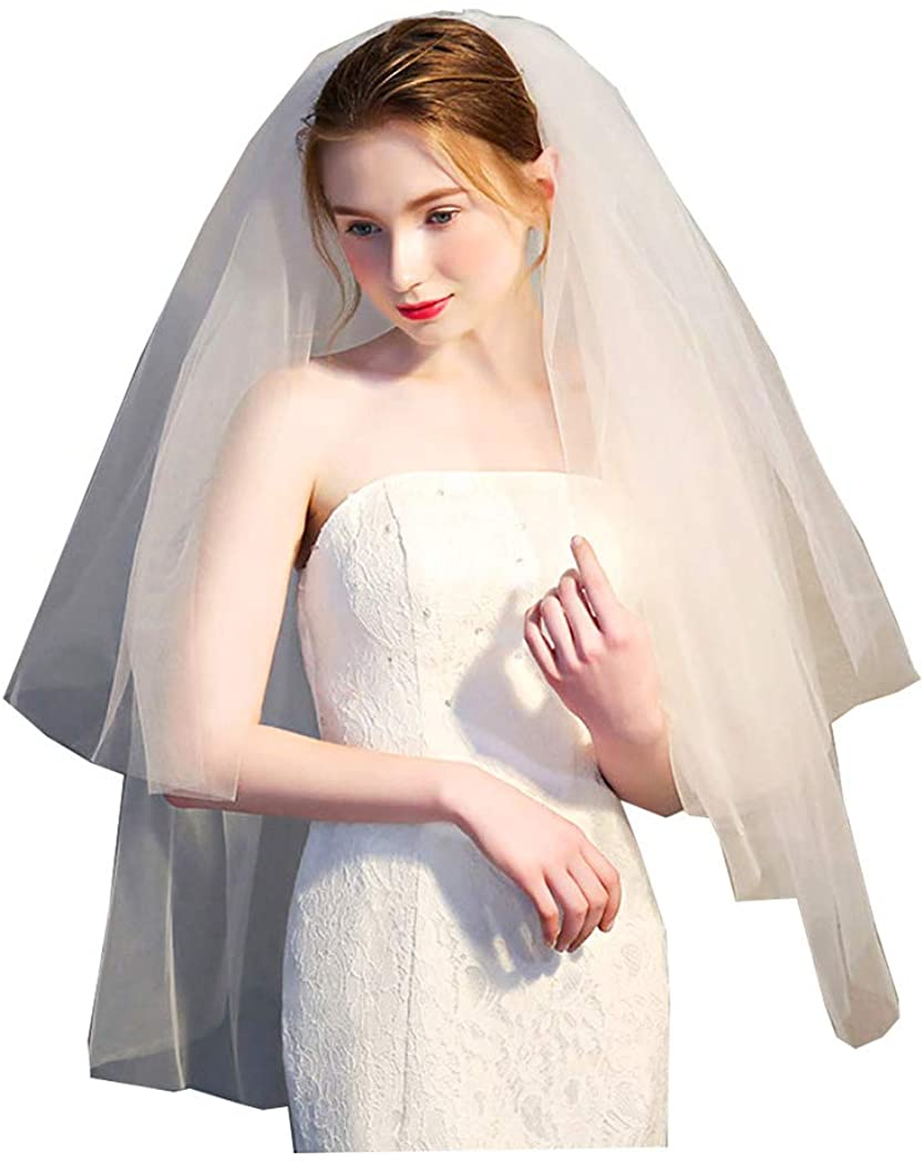 Drecode Bride Wedding Veil with Comb 2 Tier White Short Tulle Veils Bridal Headwear for Women and Girls