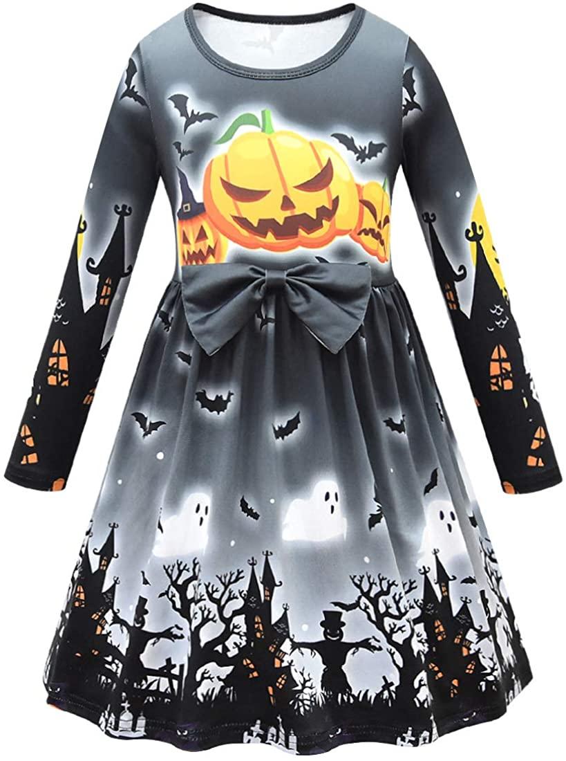 Ciafer Halloween Toddler Girls Long Sleeve Cartoon Print Pumpkin Costume Dress