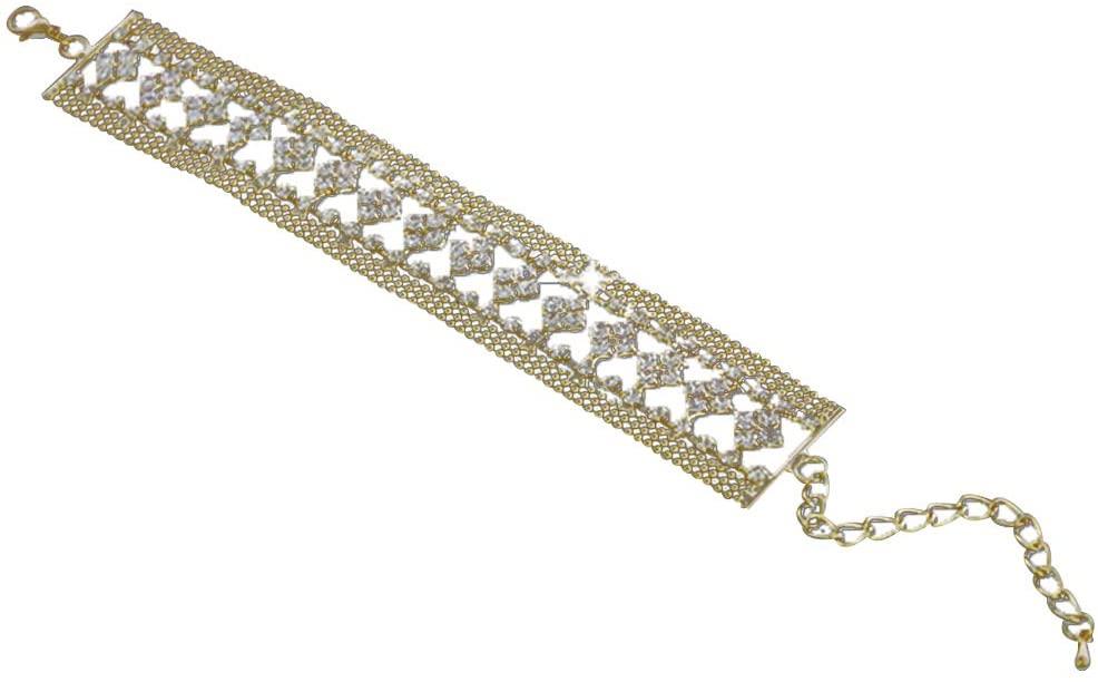 HomLand Elegant Women Full Rhinestone Wide Wedding Party Bracelet Bangle Jewelry Gift for Home Golden