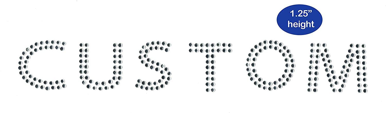 Custom Rhinestone Name Crystal Iron on 1.25 Inches Tall All Caps Block Font Iron on hotfix Transfer Bling DIY
