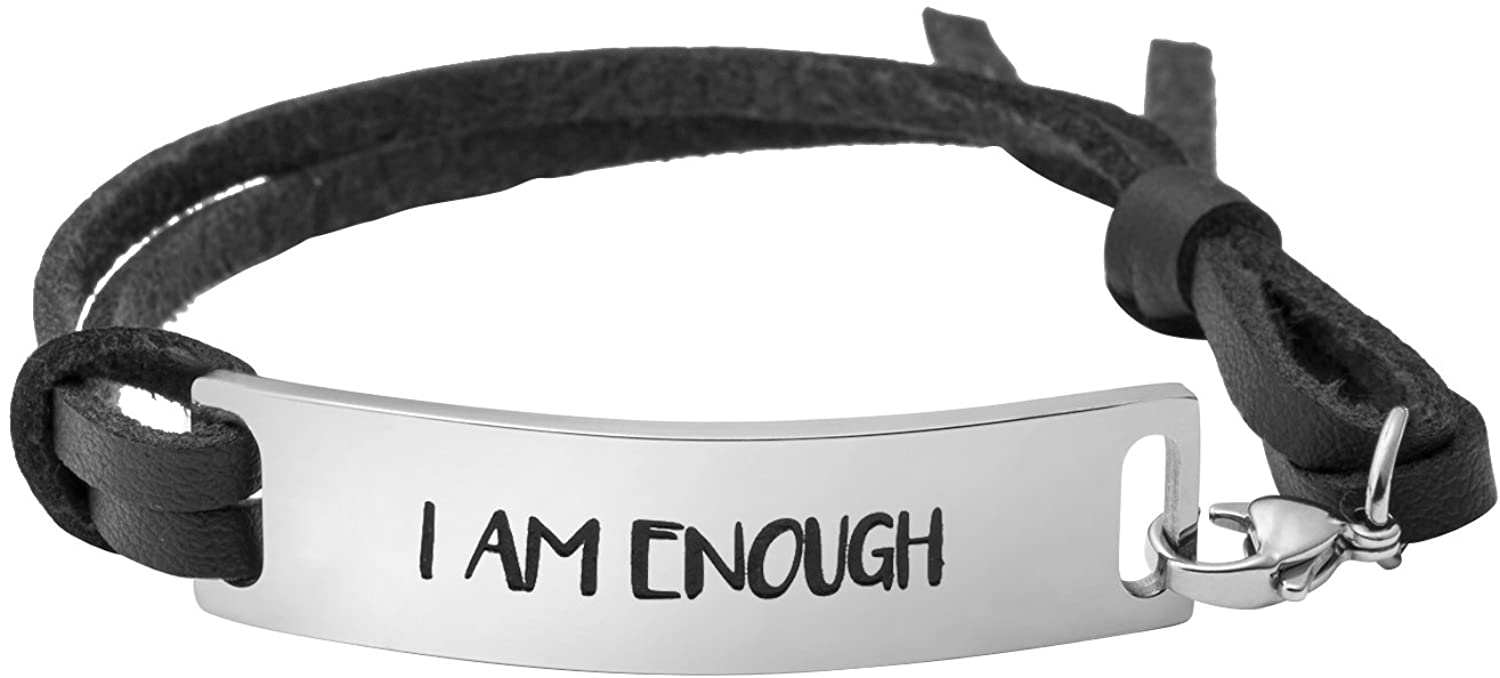 Yiyang Bracelets for Women Inspirational Gift for Her Cuff Bangle Engraved Motivational Message