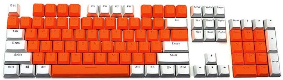 ManFull 104Pcs/Set Universal Double Color Key Cap Keycaps for Cherry Mechanical Keyboard Mechanical Keyboard Cap Orange White