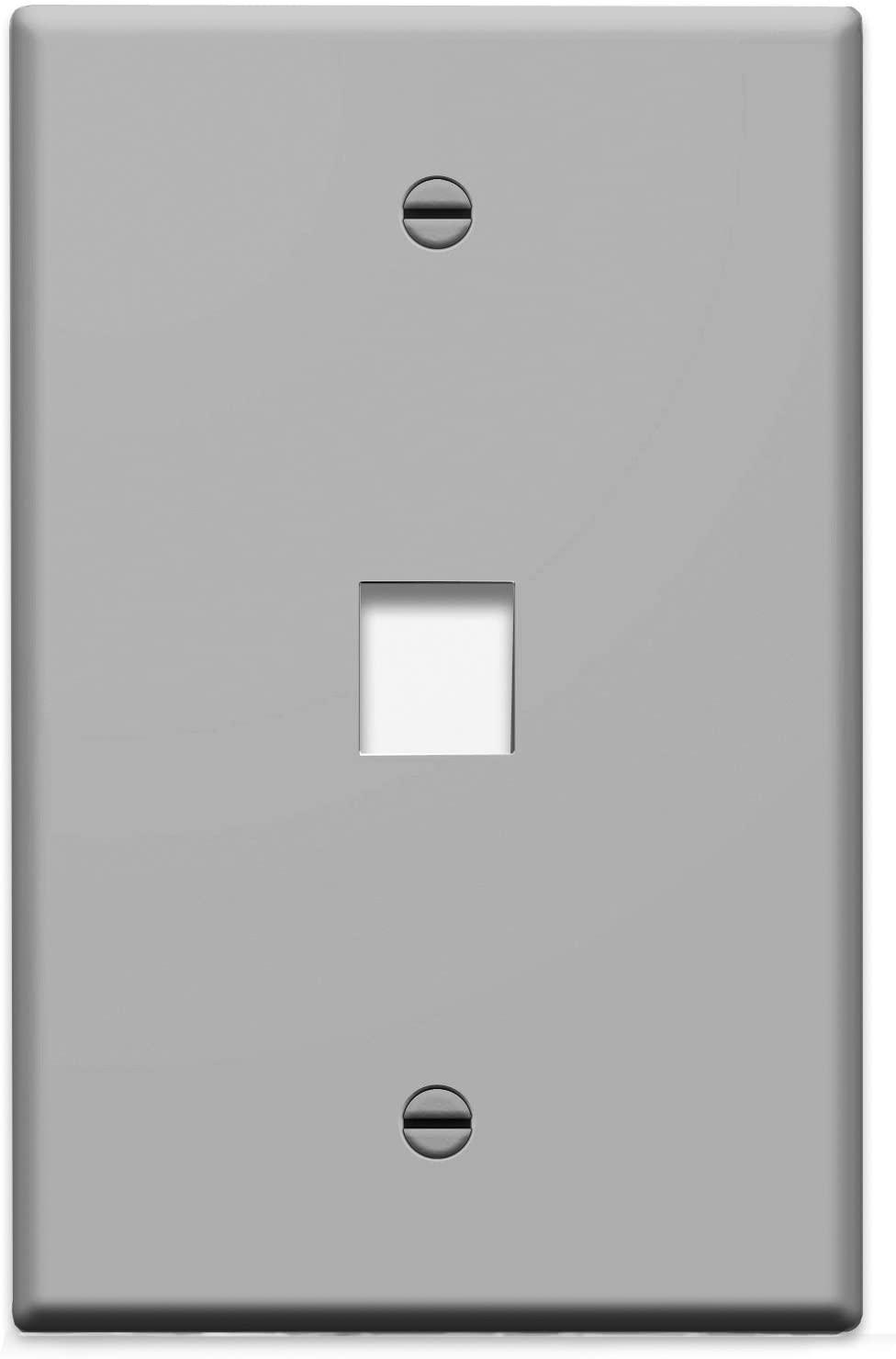 Legrand - On-Q WP3401GY 1 Port Single Gang Wall Plate, Gray
