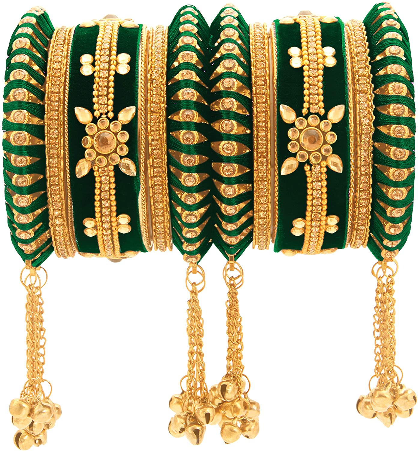 Aheli Indian Traditional Cluster Bells Hanging Valvet Wedding Bangles Chuda Set Fashion Jewelry for Women