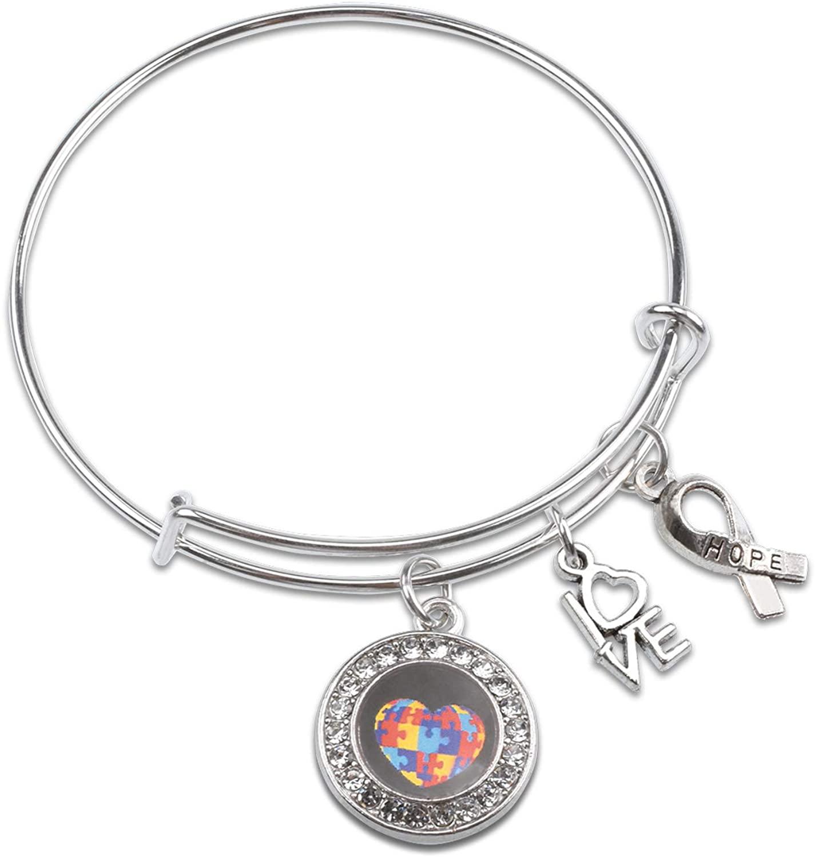 LLsuy Autism Awareness Bracelet Autistic Encouragement Gift Autism Mom Bracelet Autism Puzzle Piece Jigsaw Synthetic Crystal Charm Bracelet