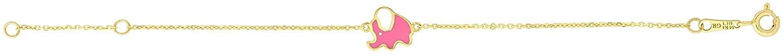 14K Yellow Gold Elephant Enamel Childrens Bracelet, Giorgio Bergamo