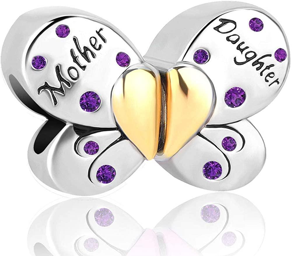LovelyJewelry Mom Mother Daughter Family Heart Love Butterfly Charm Bead for Bracelets
