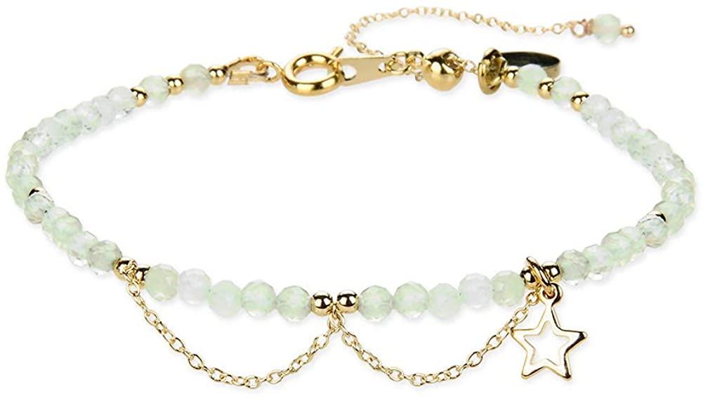 Morchic 3mm Gemstone Faceted Beads Womens Strand Bracelet, Easy Adjustable 7-9 Inch Birthday Gift