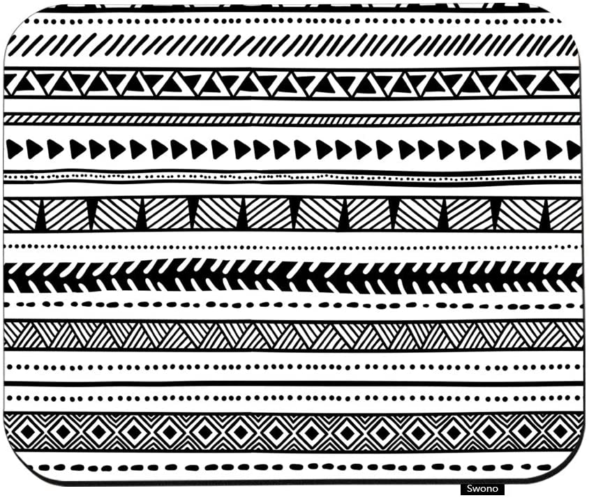Swono Ethnic Mouse Pads Black and White Geometric Tribal Ethnic Pattern Mouse Pad for Laptop Funny Non-Slip Gaming Mouse Pad for Office Home Travel Mouse Mat 7.9