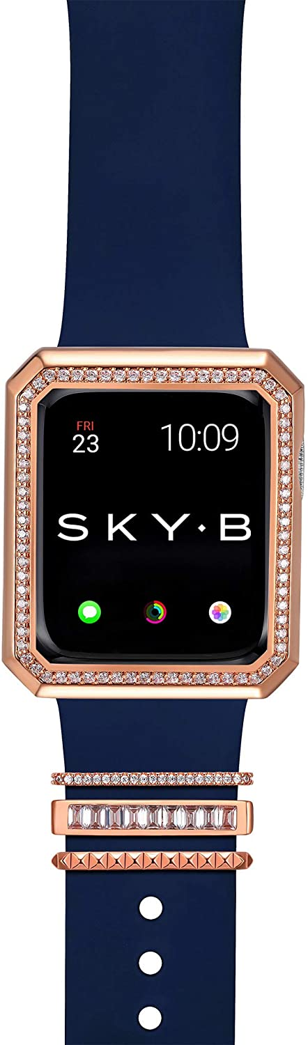 SKYB Deco Halo Apple Watch Case with NYC Watch Band Charms and Silicone Sports Band Set - 14K Rose Gold Plated with Cubic Zirconia for 40mm Apple Watch Series 4, 5