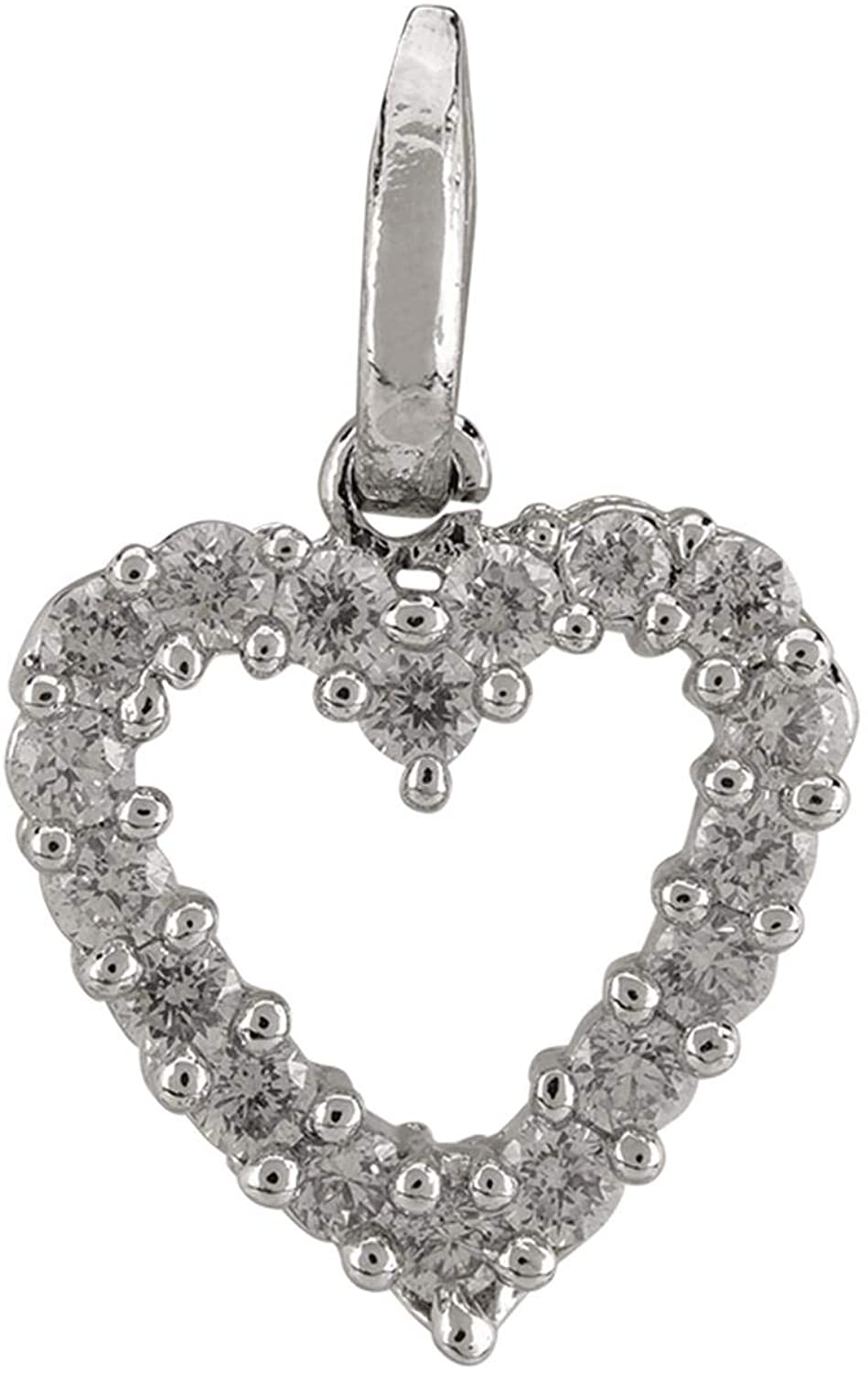 Efulgenz Silver Plated Cubic Zirconia Heart Love Pendant Chain Necklace Jewelry Valentine Gift